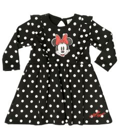 Body-Vestido---Manga-Longa---Minnie---100-Algodao---Preto---Disney---RN
