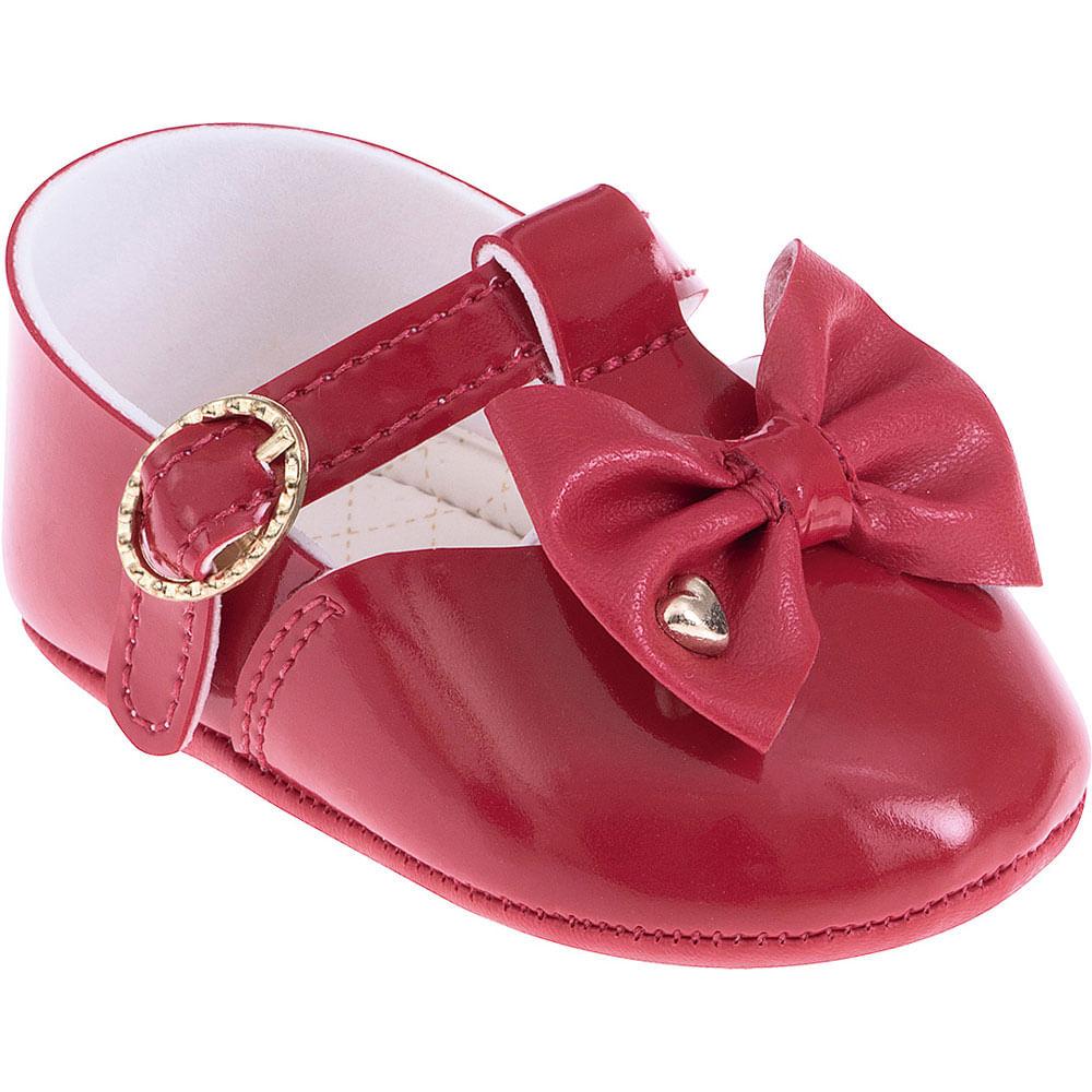 Sapatilha Infantil - Baby Meninas - Vermelha com Laço - Pimpolho