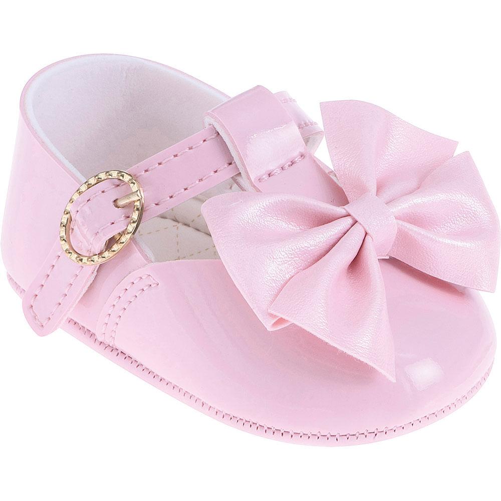 Sapatilha Infantil - Baby Meninas - Rosa com Laço - Pimpolho