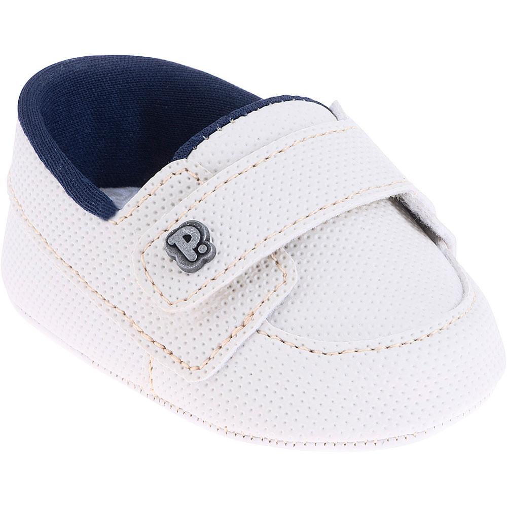 Sapatinho Infantil - Baby Classic - Branco e Azul com Velcro - Pimpolho
