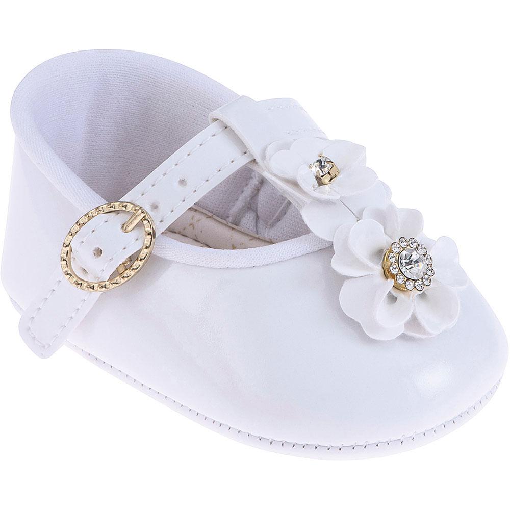Sapatilha Infantil - Baby Meninas - Branco com Fivela e Flor - Pimpolho