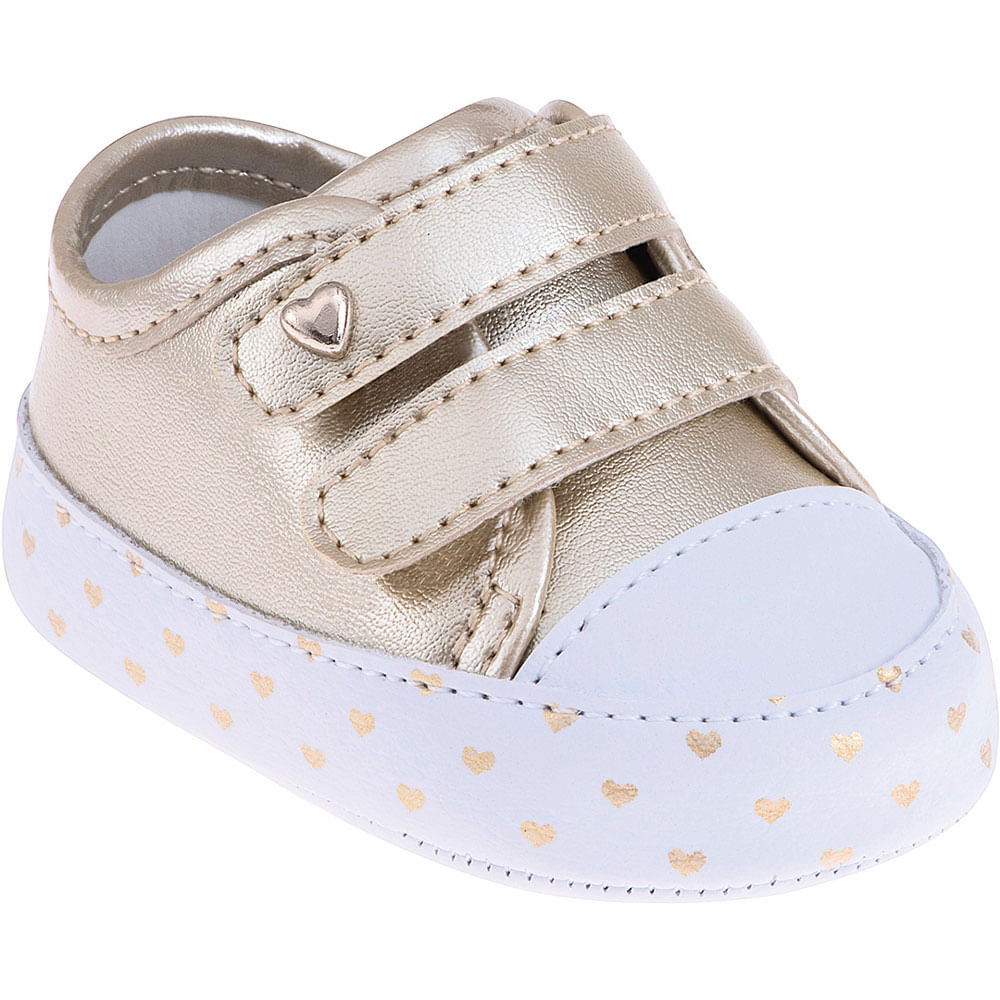 Tênis Infantil - Baby Meninas - Prateado com Coração - Pimpolho