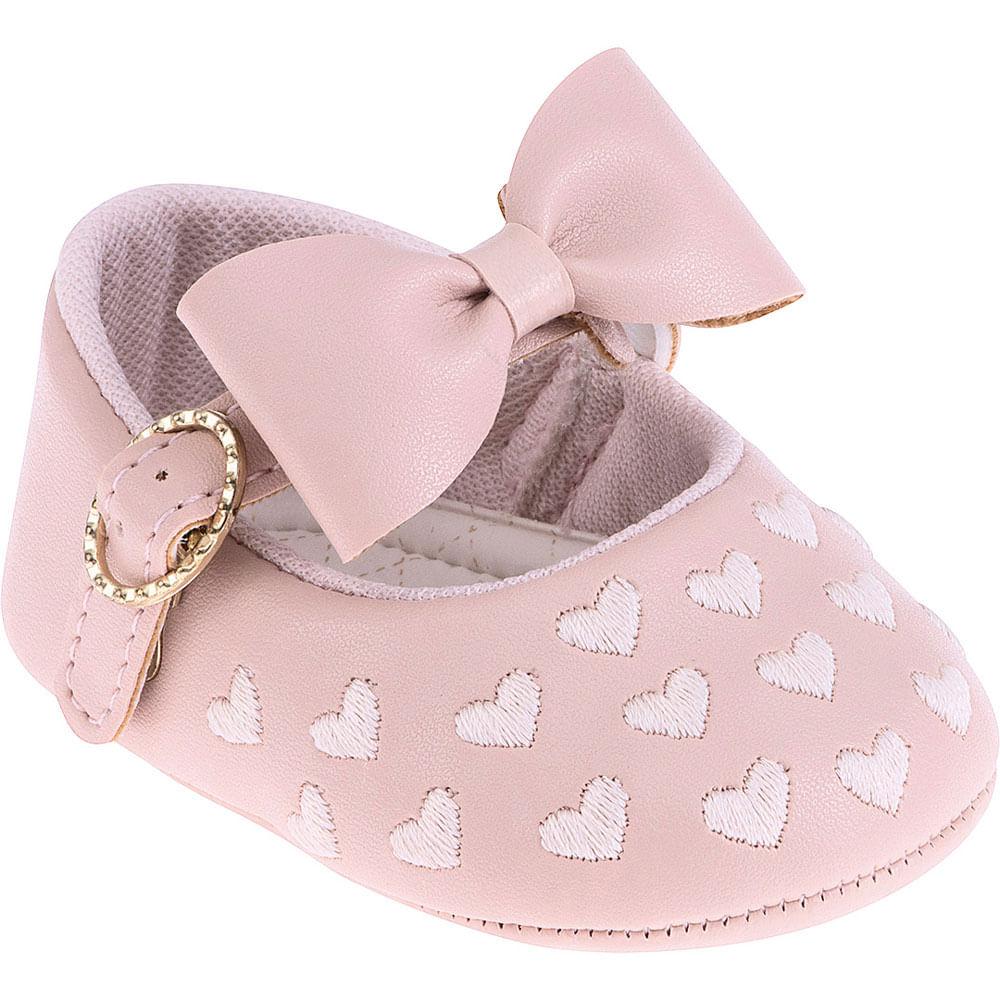 Sapatilha Infantil - Baby Meninas - Rosa com Laço e Corações - Pimpolho