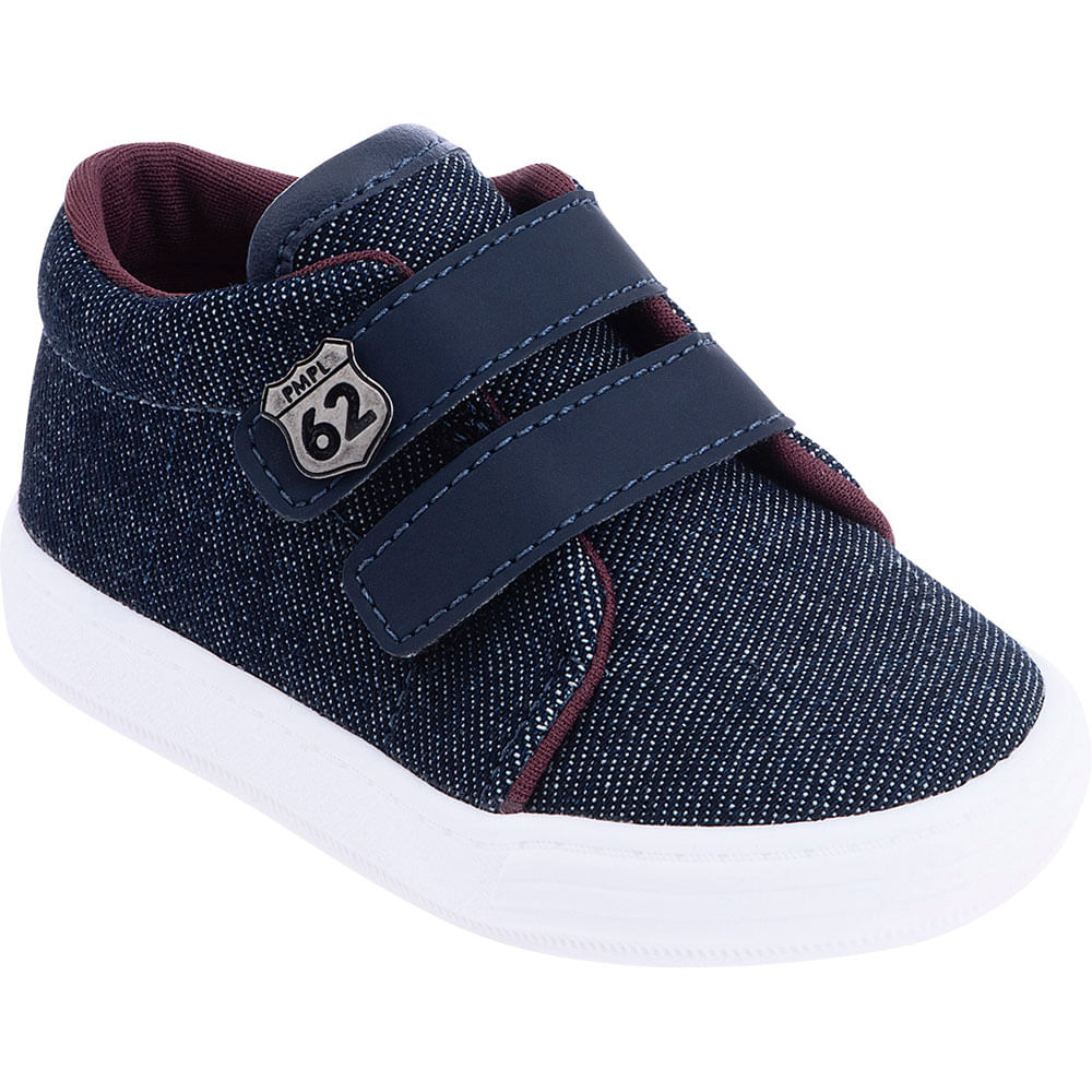 Tênis Infantil - Baby Meninos - Jeans Azul com Velcro - Pimpolho