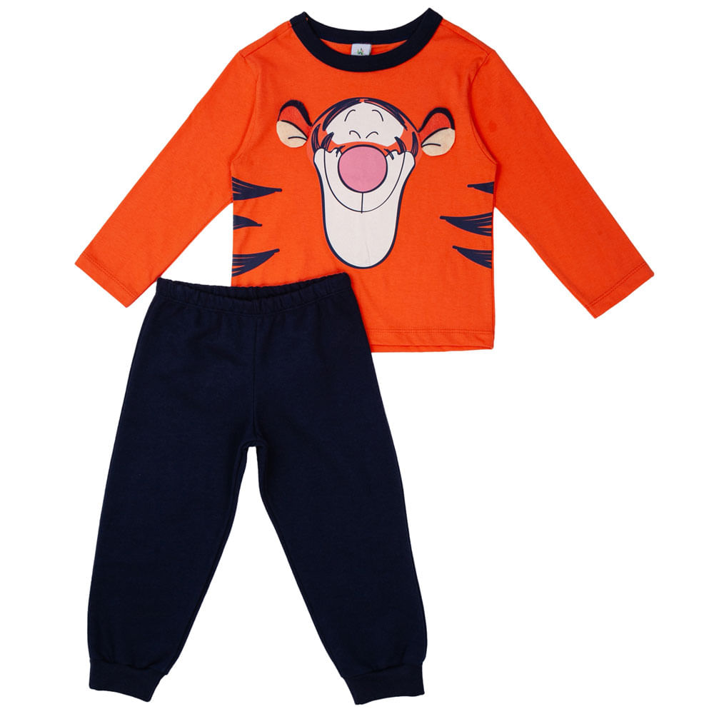 Conjunto Infantil - Camisa Manga Longa e Calça - 100% Algodão - Tigrão - Laranja - Disney