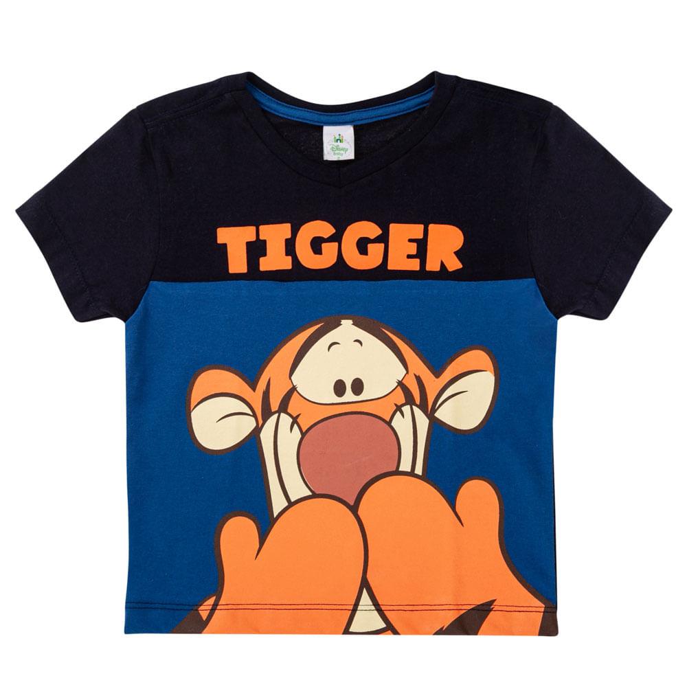 Camiseta Manga Curta - 100% Algodão - Tigrão - Azul Marinho - Disney