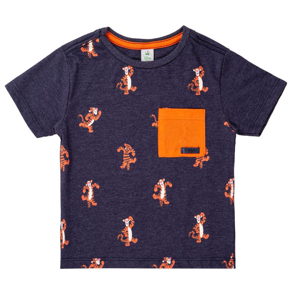 Camiseta Manga Curta - Algodão e Poliéster - Tigrão - Azul Marinho - Disney