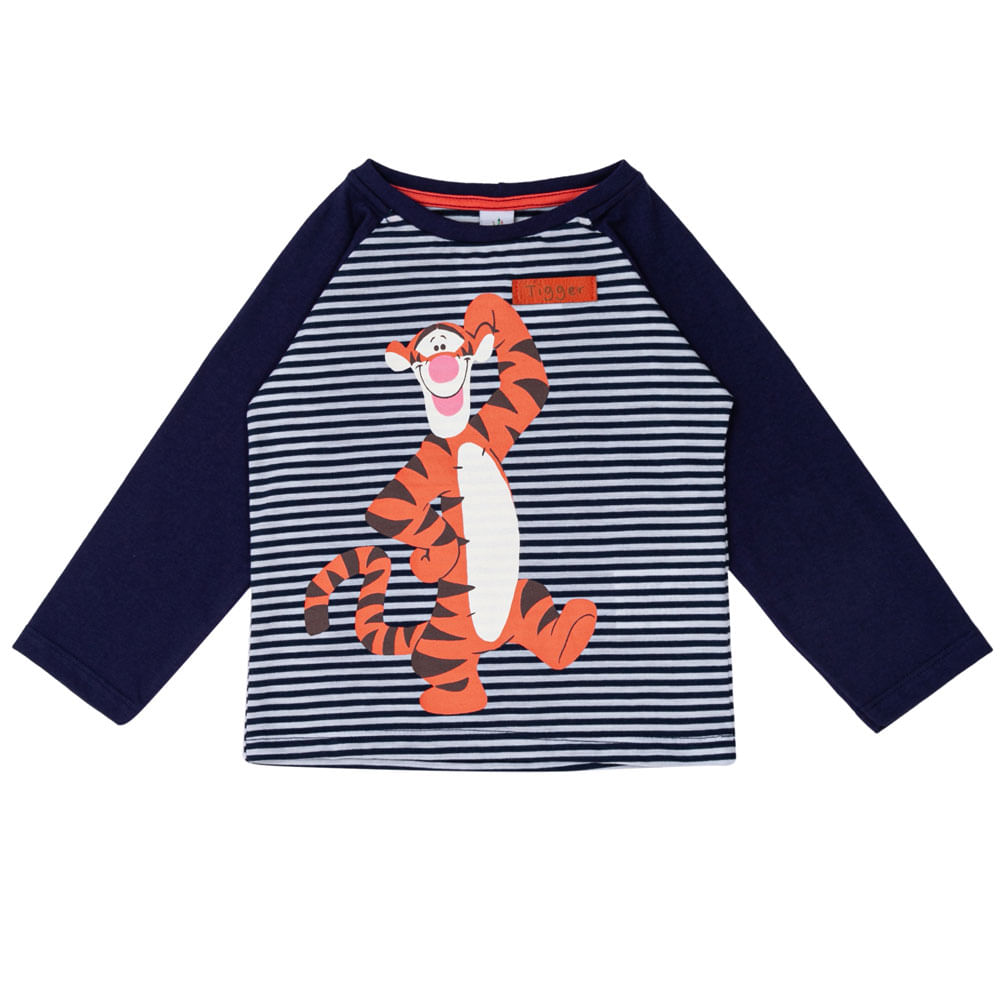 Camiseta Manga Longa - Algodão e Poliéster - Tigrão - Azul Marinho - Disney
