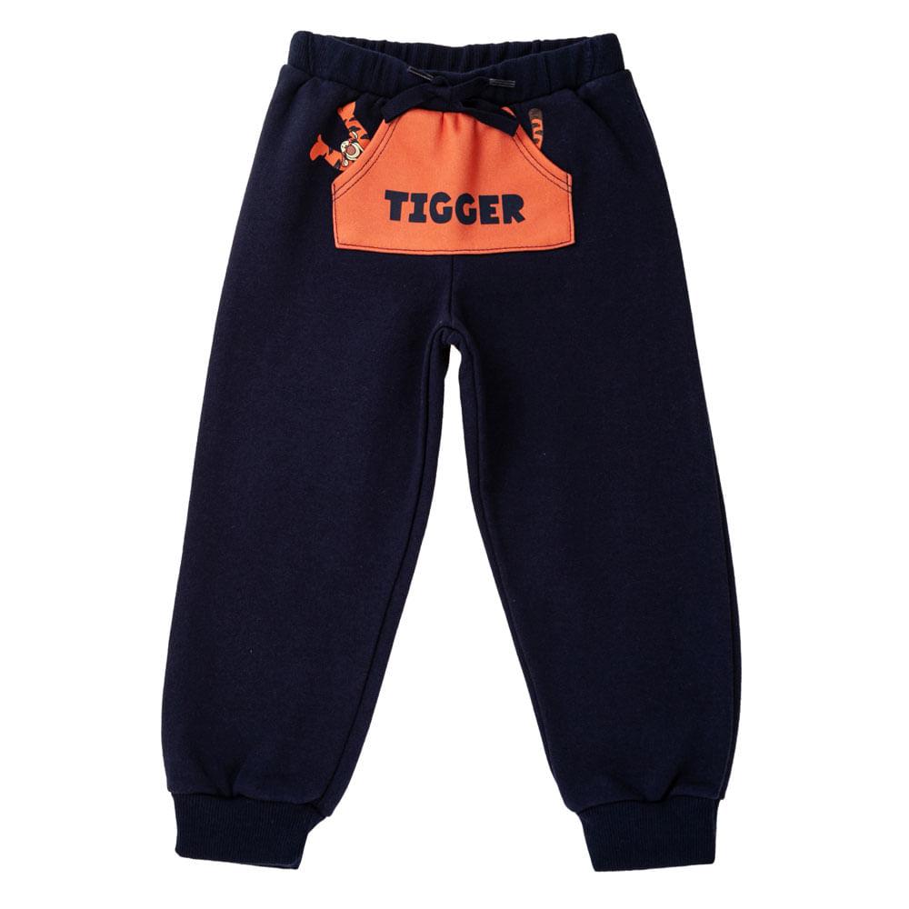 Calça com Bolso Canguru - 100% Algodão - Tigrão - Azul Marinho - Disney