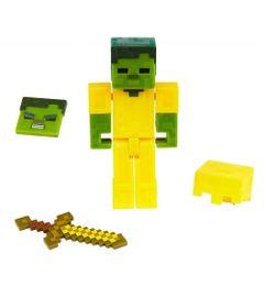 Figura-Articulada-e-Acessorios---Minecraft---Comic-Maker---Zombie-em-Armadura-Dourada---Mattel_Frente