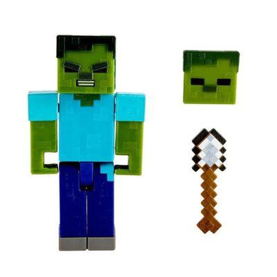 Figura-Articulada-e-Acessorios---Minecraft---Comic-Maker---Zombie---Mattel_Frente