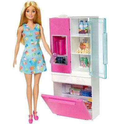 Playset-e-Boneca-Barbie---Barbie-Moveis-e-Acessorios---Cozinha---Loira---Mattel_Frente