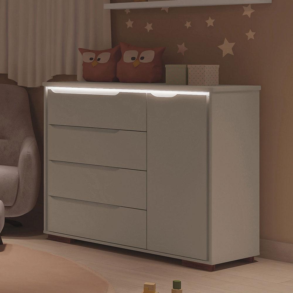 Cômoda Infantil Sloan 4 Gavetas 1 Porta Luz de LED Off White Estrela