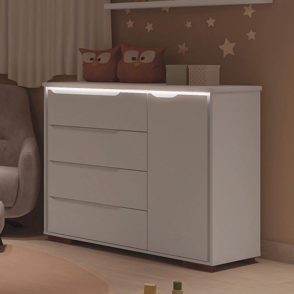 Cômoda Infantil Sloan 4 Gavetas 1 Porta Luz de LED Branco Estrela