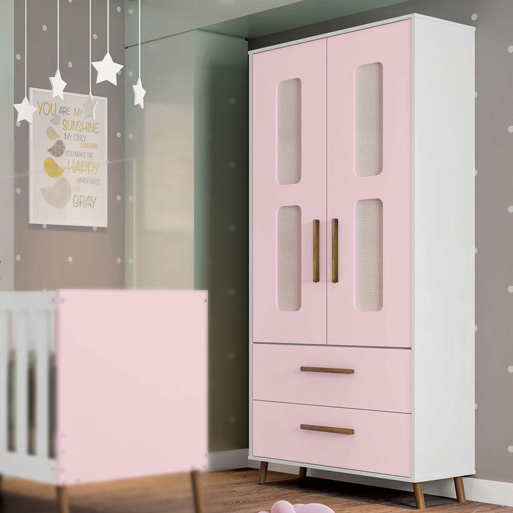 Guarda Roupa Infantil Retrô Bibi 2 Portas Branco e Rosa Móveis Estrela