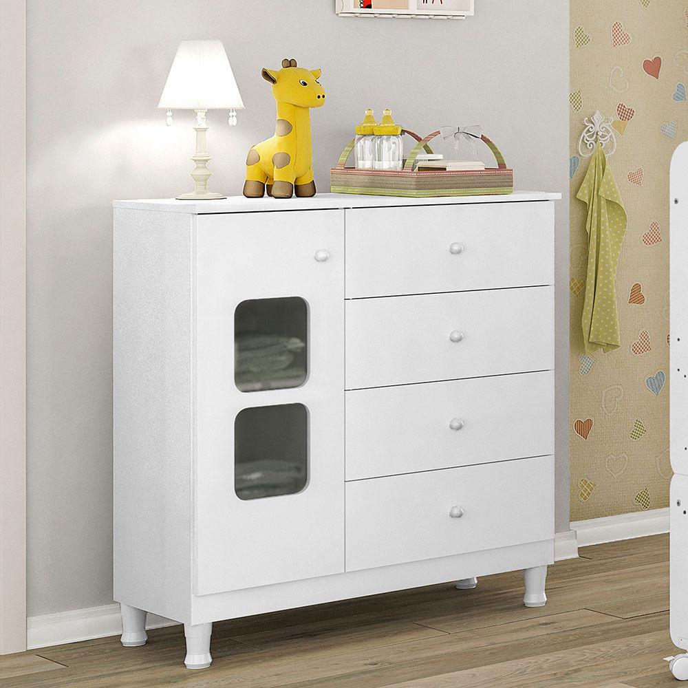 Cômoda Infantil Xodó com Pé 4 Gatevas com Porta Branco Móveis Estrela