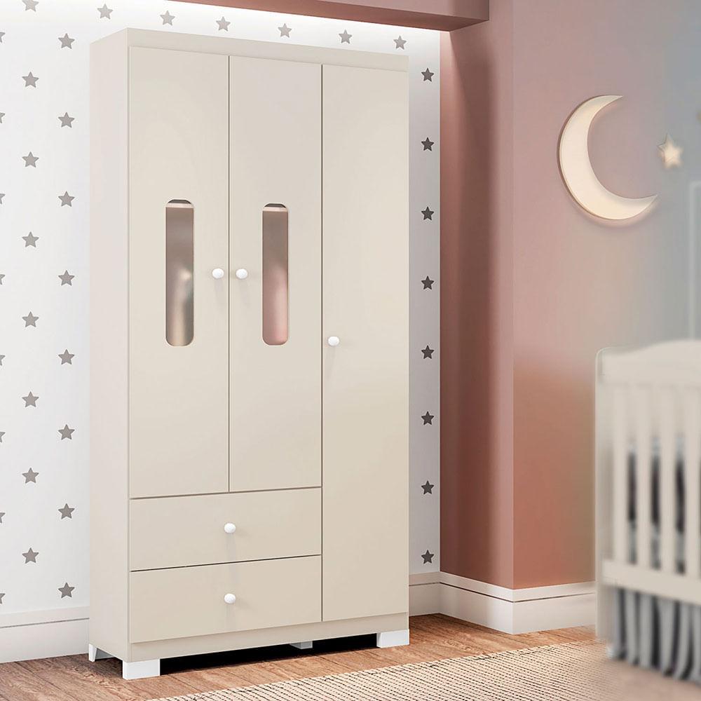 Guarda Roupa Infantil Sonhos 3 Portas Off White Móveis Estrela