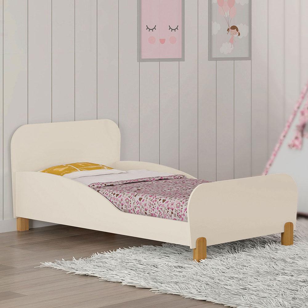 Mini Cama Infantil Melody com Proteção Lateral Off White Móveis Estrela