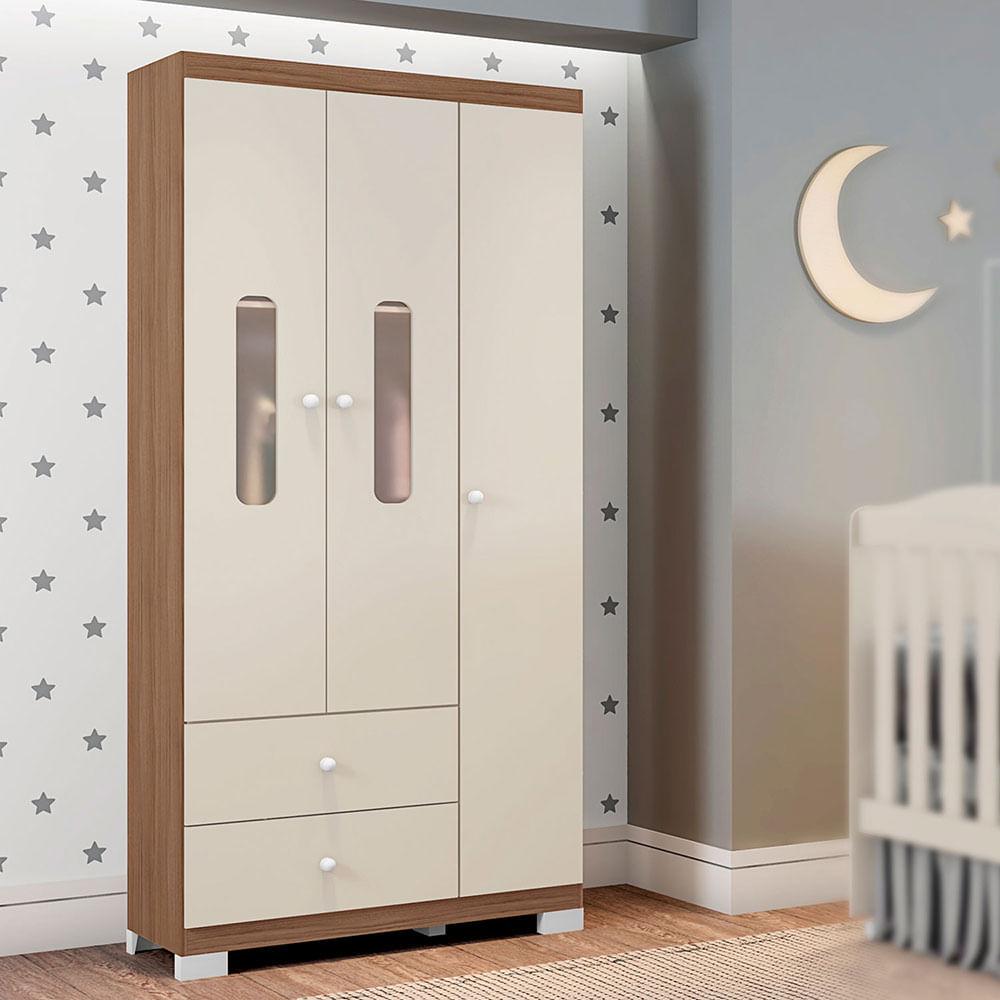 Guarda Roupa Infantil Sonhos 3 Portas Off White/Almendra Móveis Estrela