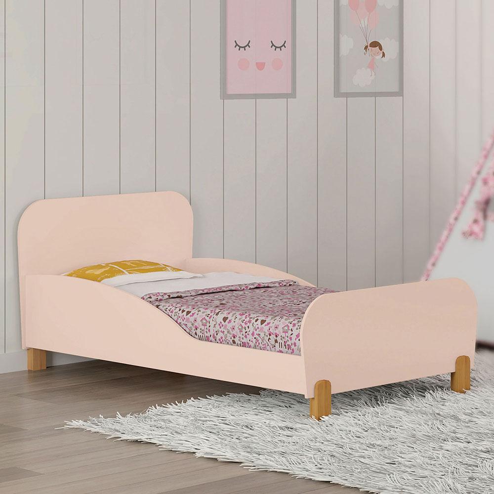 Mini Cama Infantil Melody com Proteção Lateral Rosê Móveis Estrela