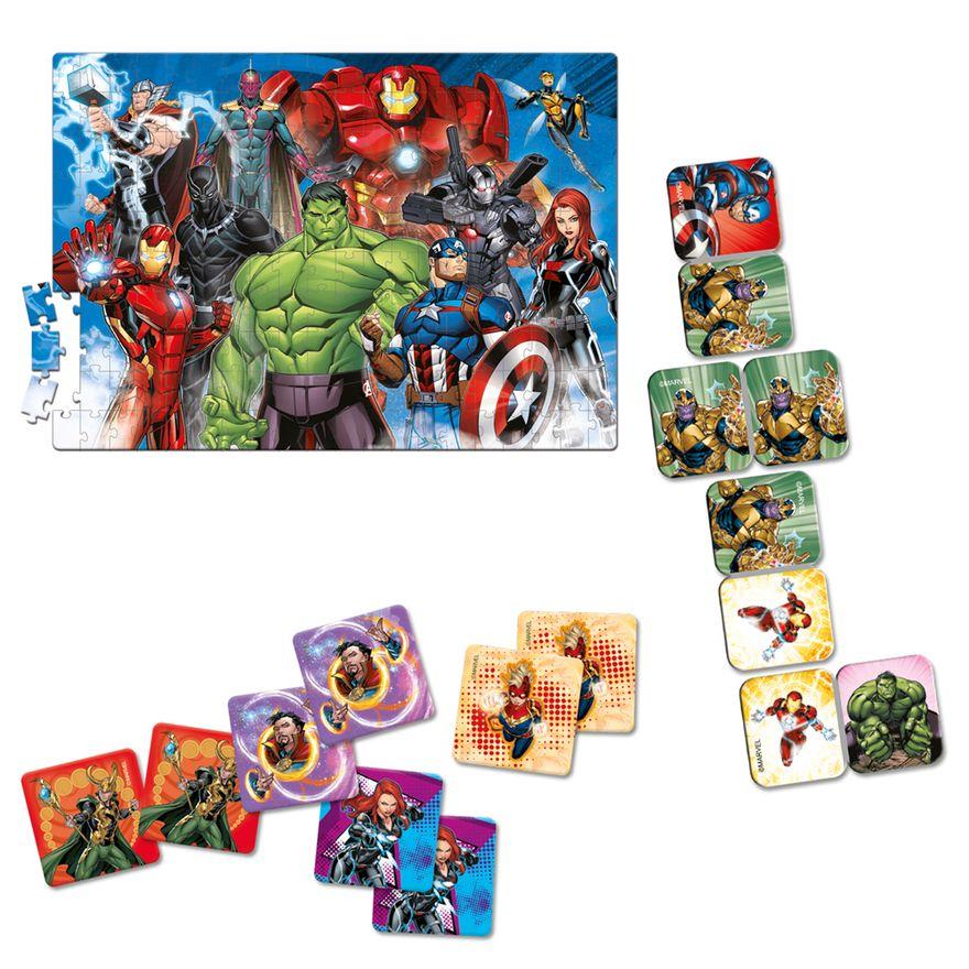 Conjunto-de-Jogos---Quebra-Cabeca-Jogo-da-Memoria-e-Domino---Disney---Marvel---Avengers---Toyster--1