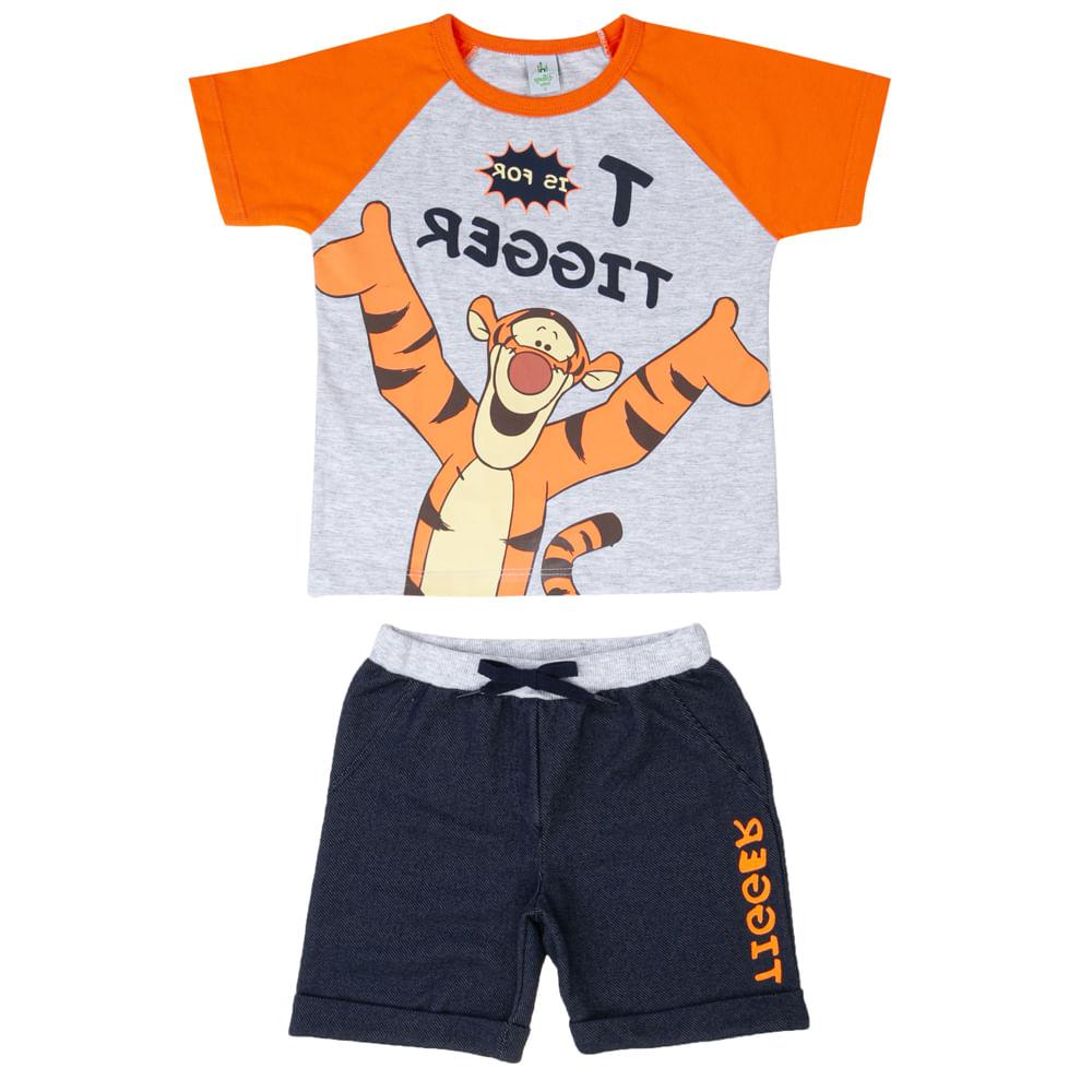 Conjunto Infantil - Camisa Manga Curta e Bermuda - Algodão e Poliéster - Tigrão - Mescla - Disney
