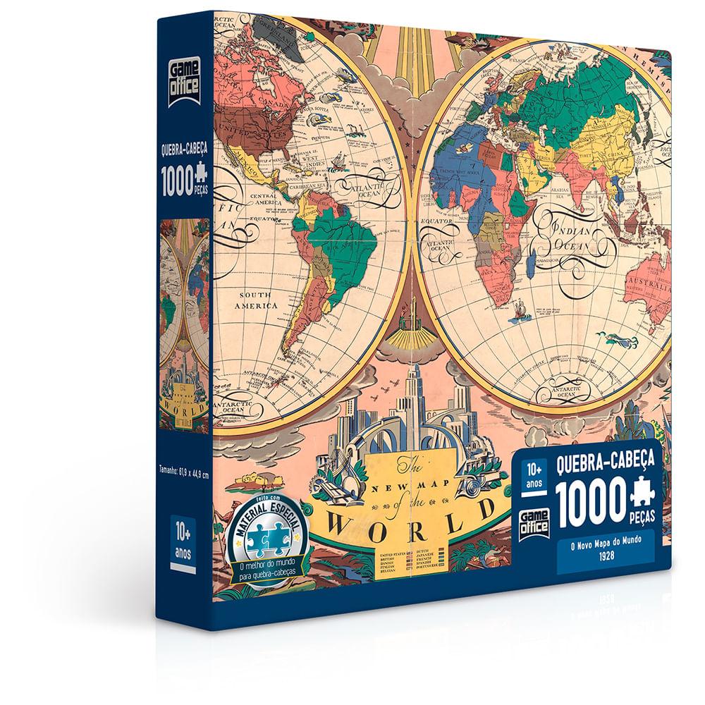 Quebra-Cabeça - 1000 Peças - O Novo Mapa do Mundo - Toyster