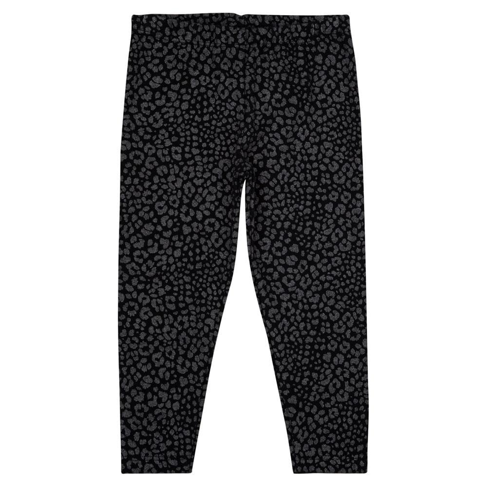 Calça Legging - Animal Print com Glitter - Algodão e Elastano - Preto - Minimi