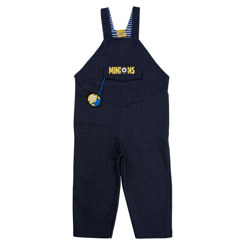 Jardineira Infantil - Malha Jeans - Algodão e Poliéster - Azul - Minions