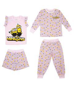 Quadrijama-Infantil---Meninas---100--Algodao---Rosa---Minions---3