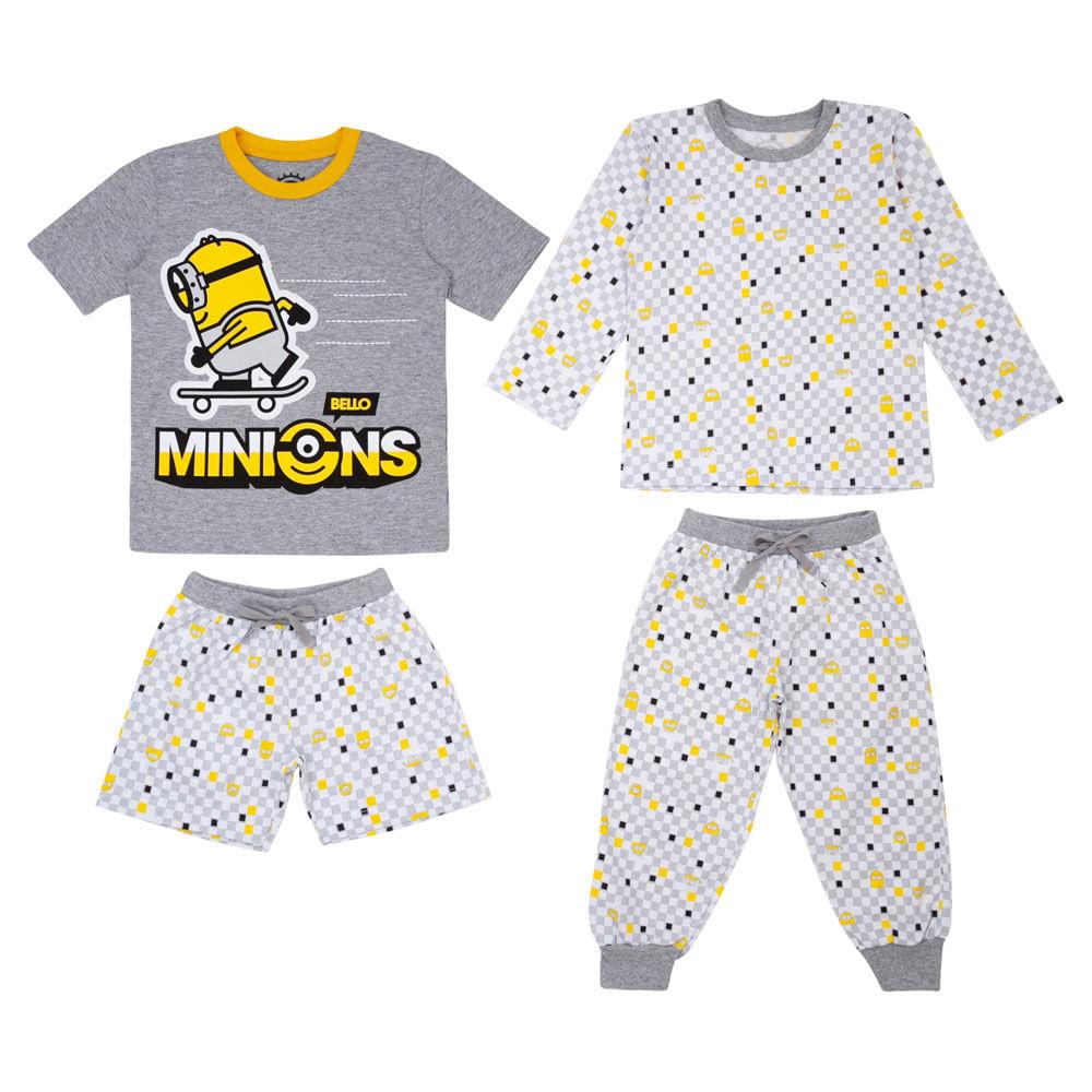 Quadrijama Infantil - Meninos - 100% Algodão - Cinza - Minions