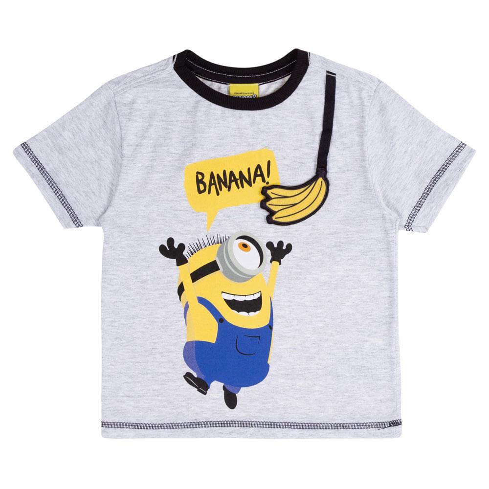Camisa Manga Curta - Estampa Minions Banana - Algodão e Poliéster - Mescla - Minions