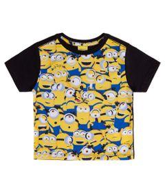 Camisa-Manga-Curta---Universal---Minions---Algodao-e-Poliester---Preto---Minions---1
