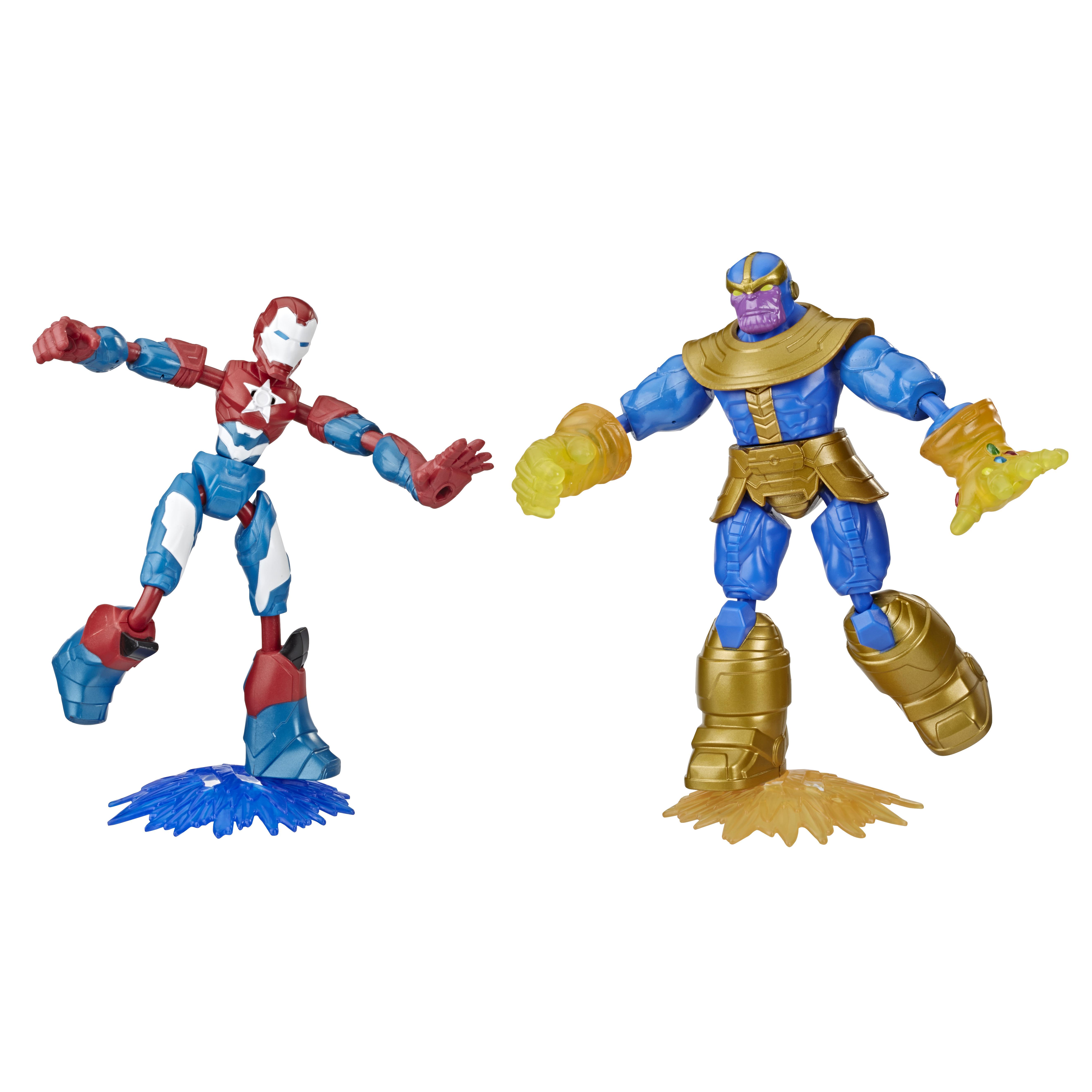 Conjunto De Bonecos Articulados - Disney - Marvel - Bend And Flex - Iron Patriot e Thanos - Hasbro
