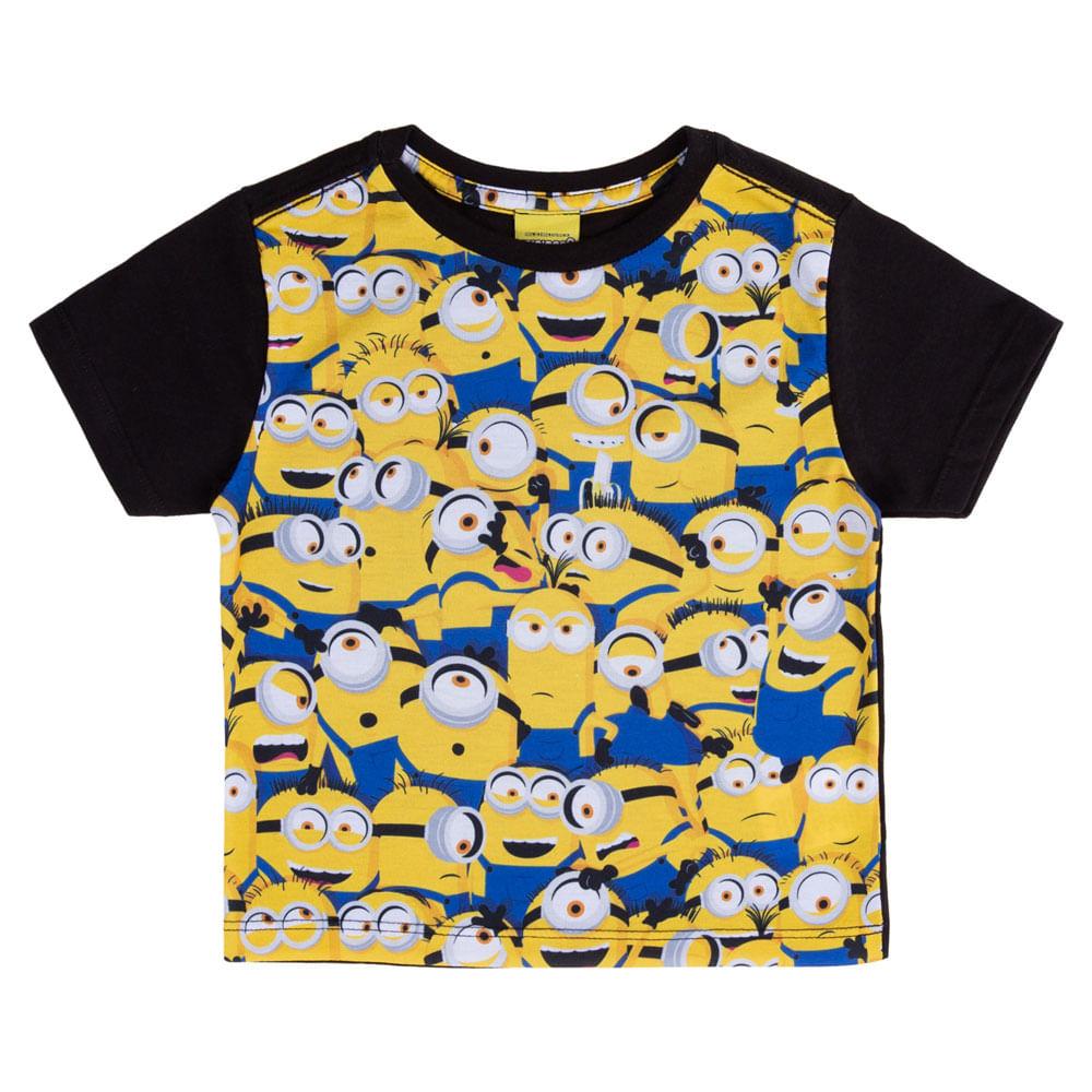 Camisa Manga Curta - Universal - Minions - Algodão e Poliéster - Preto - Minions