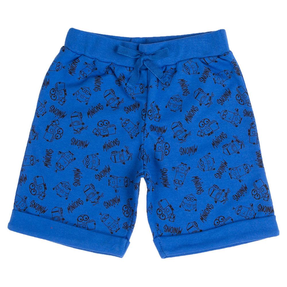 Bermuda Infantil - Moletom - Minions00% Algodão - Azul - Minions