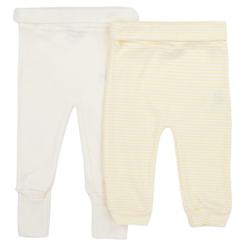 Conjunto de Calças com Culote - 2 Peças - 100% Algodão - Amarelo - Minimi