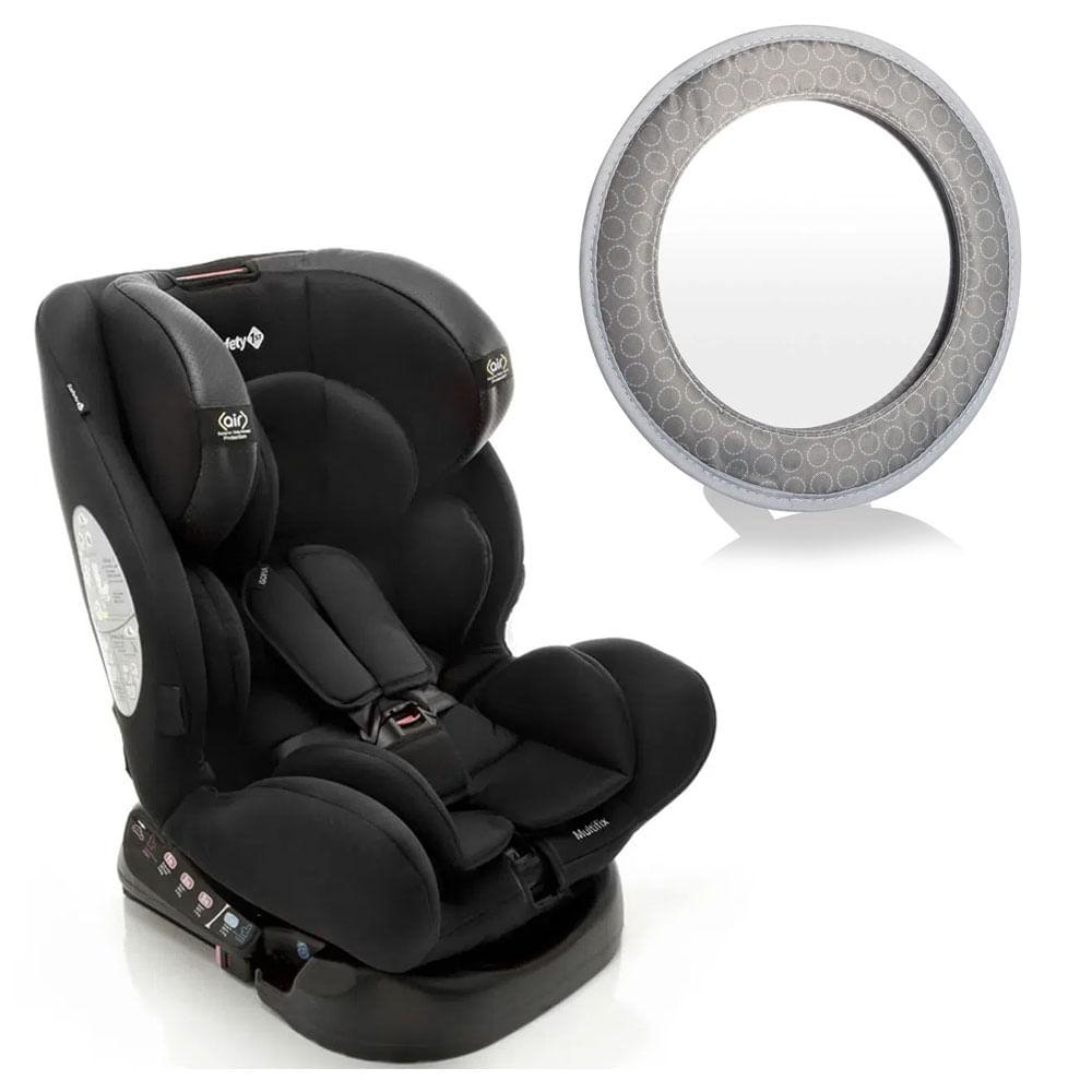 Kit com Cadeira para Auto - De 0 a 36 Kg - Com Isofix - Multifix - Black - Safety 1St e Espelho Retrovisor - Multikids Baby