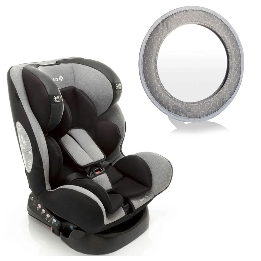 Kit com Cadeira para Auto - De 0 a 36 Kg - Com Isofix - Multifix - Grey - Safety 1St e Espelho Retrovisor - Multikids Baby