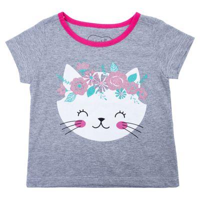 Blusa-Manga-Curta---Gatinha-Floral---Algodao-e-Poliester---Mescla---Minimi---1