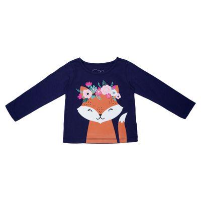 Blusa-Manga-Longa---Raposa-Floral---100--Algodao---Azul-Marinho---Minimi---1