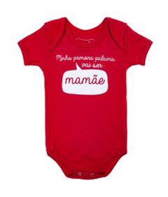 Body-Manga-Curta---Frases---Mamae---100--Algodao---Vermelho---Minimi---RN