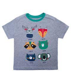 Camisa-Manga-Curta---Animais-da-Floresta---Algodao-e-Poliester---Mescla---Minimi---1