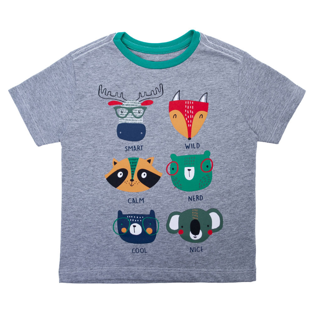 Camisa Manga Curta - Animais da Floresta - Algodão e Poliéster - Mescla - Minimi