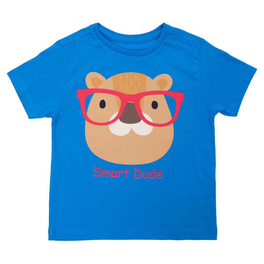 Camisa Manga Curta - Castor de Óculos - 100% Algodão - Azul - Minimi