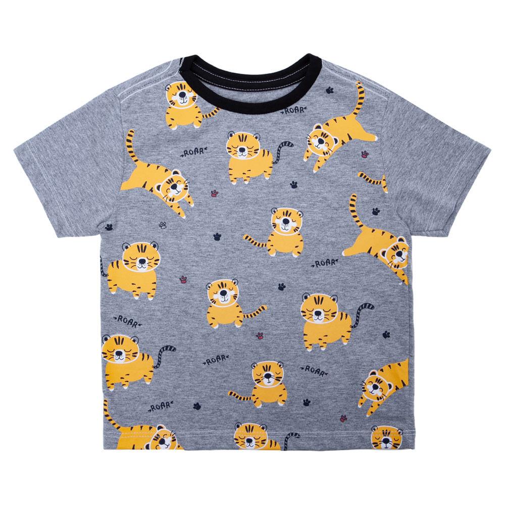 Camisa Manga Curta - Full Tigrinhos - Algodão e Poliéster - Mescla - Minimi