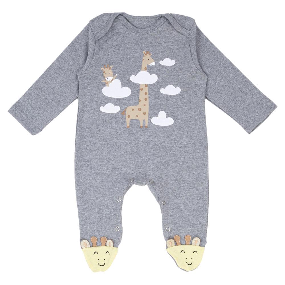 Macacão Infantil com Pé - Estampa de Girafa - Algodão e Poliéster - Cinza - Minimi