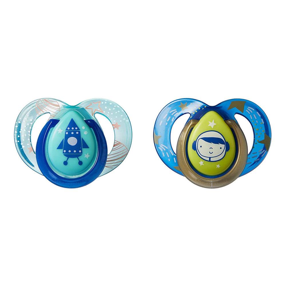 Chupeta Night Time - 6 a 18 Meses - 2 Peças - Azul e Verde Água - Tommee Tippee