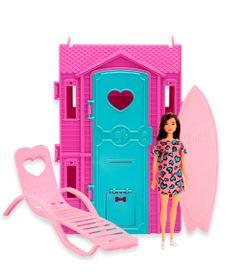 Playset-e-Boneca-Barbie---Surf-Studio-da-Barbie-com-Vestido-Rosa-Escuro---Fun-0