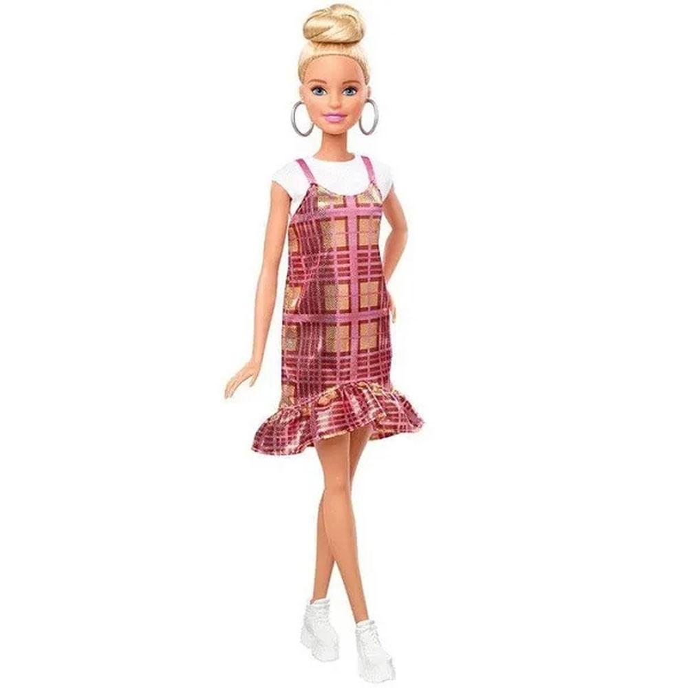 Boneca Barbie Fashionista - Blusa Branca e Vestido Xadrez - Mattel